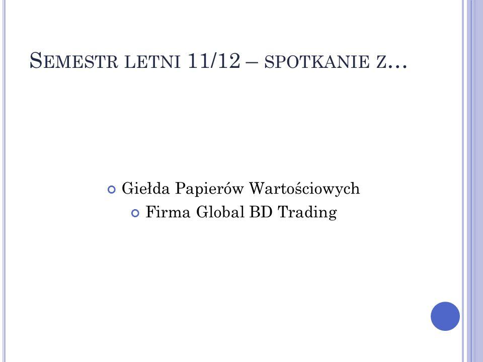 S EMESTR LETNI 11/12 – SPOTKANIE Z … Giełda Papierów Wartościowych Firma Global BD Trading