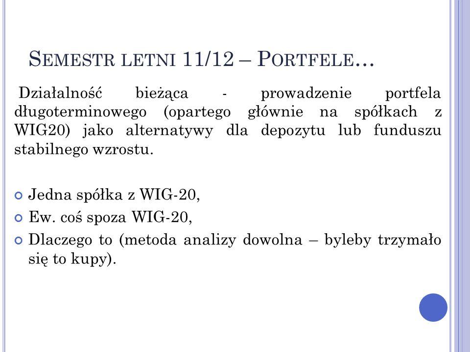 S EMESTR LETNI 11/12 – P ORTFELE … Działalność bieżąca - prowadzenie portfela długoterminowego (opartego głównie na spółkach z WIG20) jako alternatywy dla depozytu lub funduszu stabilnego wzrostu.