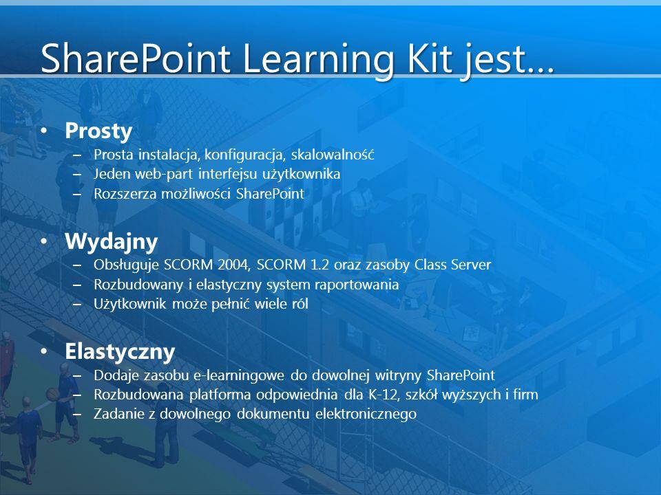 SharePoint Learning Kit jest… Prosty – Prosta instalacja, konfiguracja, skalowalność – Jeden web-part interfejsu użytkownika – Rozszerza możliwości SharePoint Wydajny – Obsługuje SCORM 2004, SCORM 1.2 oraz zasoby Class Server – Rozbudowany i elastyczny system raportowania – Użytkownik może pełnić wiele ról Elastyczny – Dodaje zasobu e-learningowe do dowolnej witryny SharePoint – Rozbudowana platforma odpowiednia dla K-12, szkół wyższych i firm – Zadanie z dowolnego dokumentu elektronicznego
