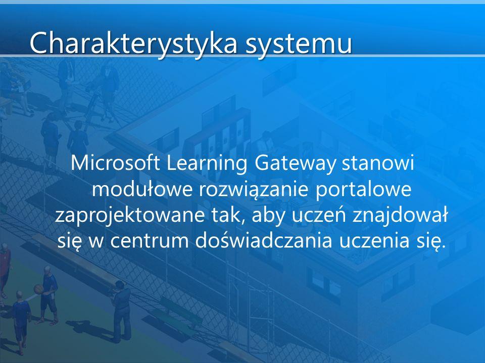 Charakterystyka systemu Microsoft Learning Gateway stanowi modułowe rozwiązanie portalowe zaprojektowane tak, aby uczeń znajdował się w centrum doświadczania uczenia się.