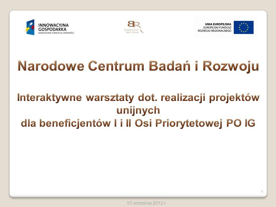 12 10 września 2012 r.Wskaźniki w projekcie tj.