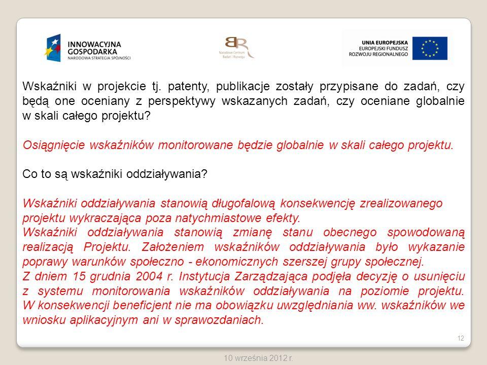 12 10 września 2012 r. Wskaźniki w projekcie tj. patenty, publikacje zostały przypisane do zadań, czy będą one oceniany z perspektywy wskazanych zadań