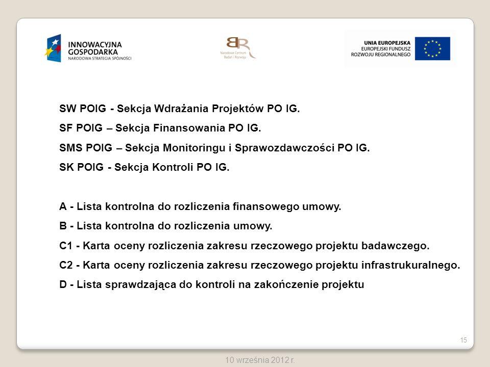 15 10 września 2012 r. SW POIG - Sekcja Wdrażania Projektów PO IG. SF POIG – Sekcja Finansowania PO IG. SMS POIG – Sekcja Monitoringu i Sprawozdawczoś