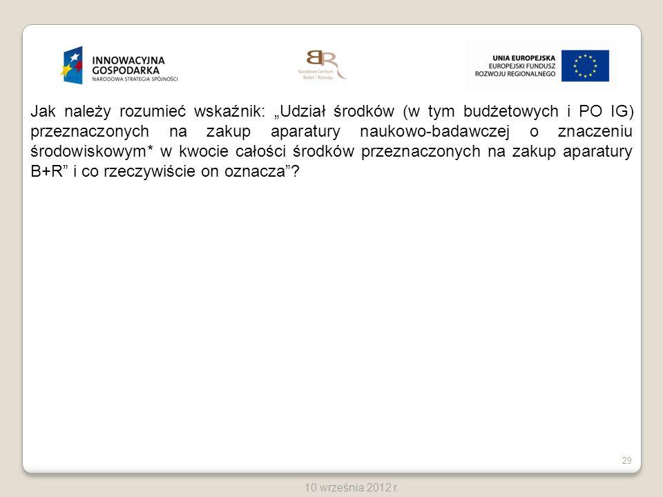 29 10 września 2012 r. Jak należy rozumieć wskaźnik: Udział środków (w tym budżetowych i PO IG) przeznaczonych na zakup aparatury naukowo-badawczej o