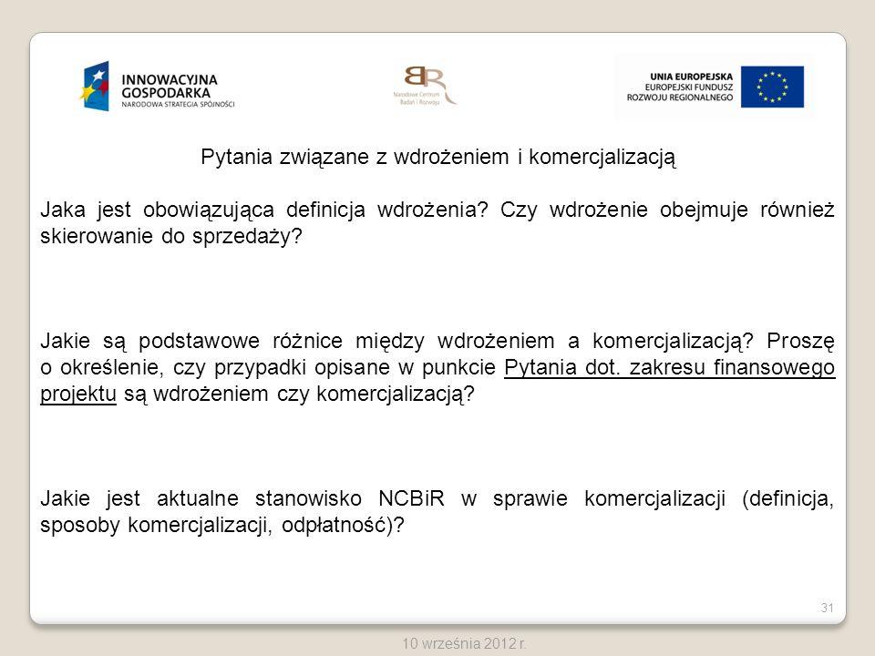 31 10 września 2012 r. Pytania związane z wdrożeniem i komercjalizacją Jaka jest obowiązująca definicja wdrożenia? Czy wdrożenie obejmuje również skie