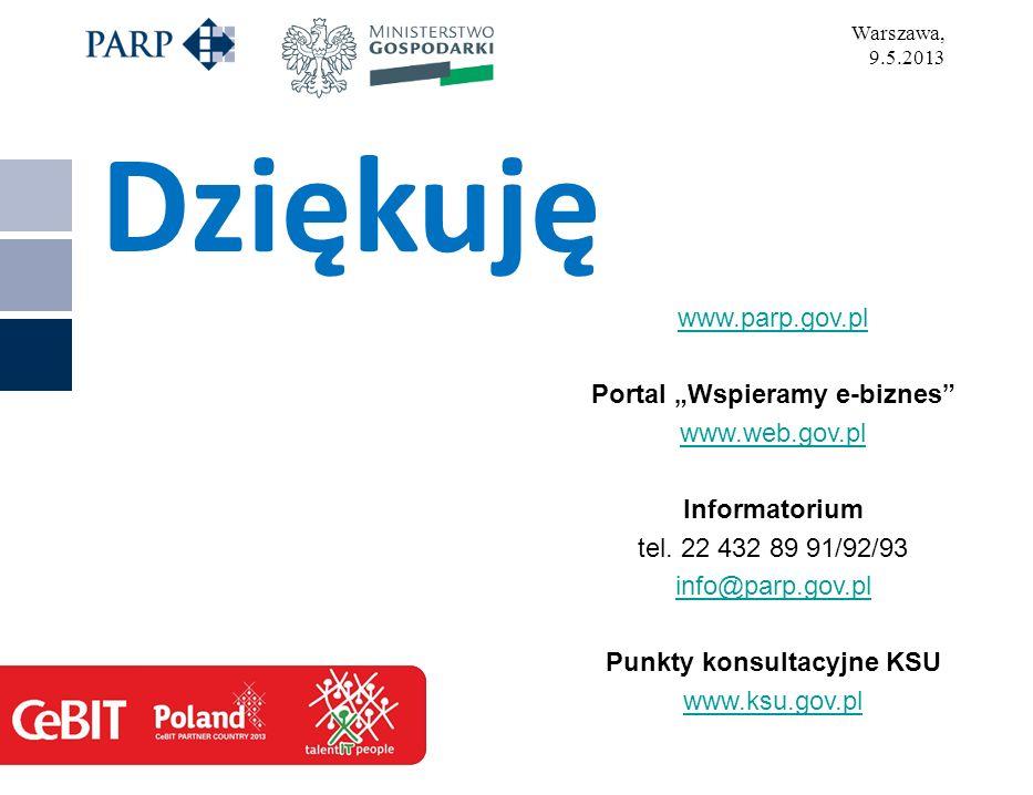 Dziękuję www.parp.gov.pl Portal Wspieramy e-biznes www.web.gov.pl Informatorium tel.