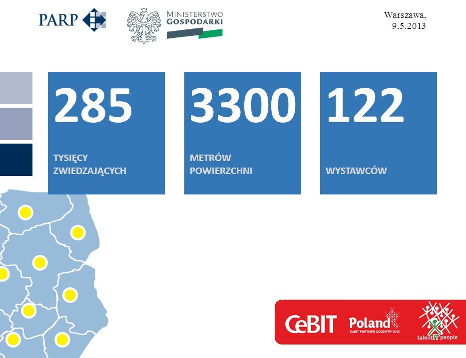 Warszawa, 9.5.2013 285 TYSIĘCY ZWIEDZAJĄCYCH 3300 METRÓW POWIERZCHNI 122 WYSTAWCÓW