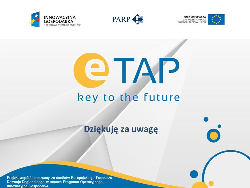 Dziękuję za uwagę Projekt współfinansowany ze środków Europejskiego Funduszu Rozwoju Regionalnego w ramach Programu Operacyjnego Innowacyjna Gospodarka