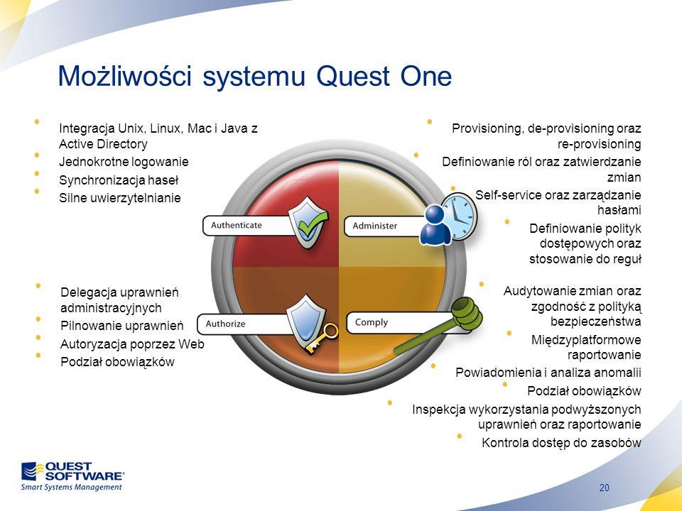20 Możliwości systemu Quest One Integracja Unix, Linux, Mac i Java z Active Directory Jednokrotne logowanie Synchronizacja haseł Silne uwierzytelniani