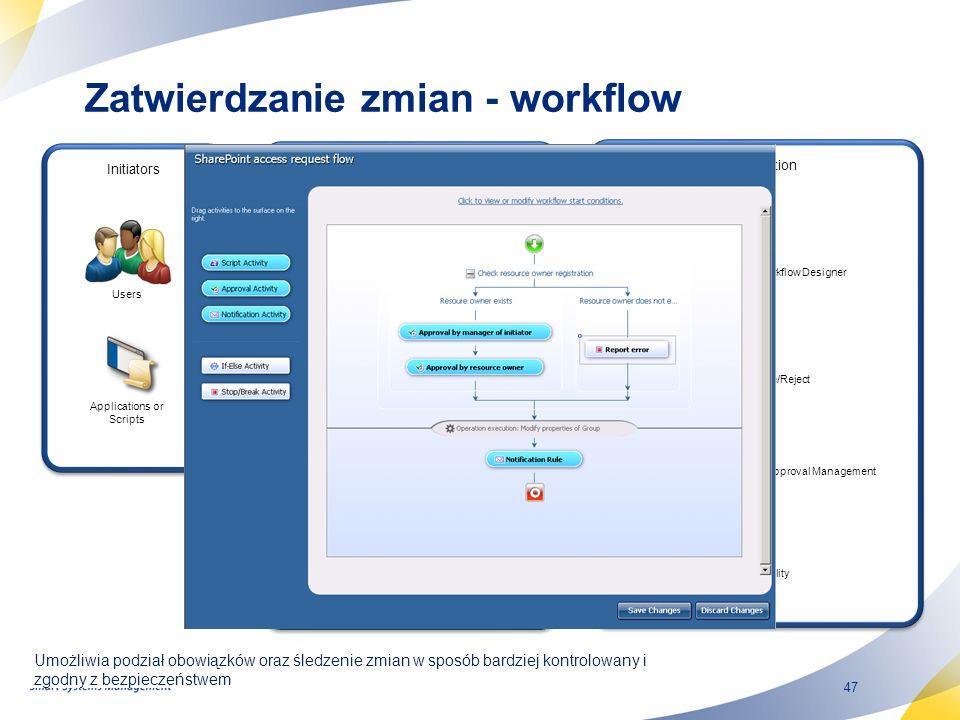 47 Umożliwia podział obowiązków oraz śledzenie zmian w sposób bardziej kontrolowany i zgodny z bezpieczeństwem Zatwierdzanie zmian - workflow