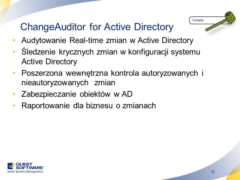59 ChangeAuditor for Active Directory Audytowanie Real-time zmian w Active Directory Śledzenie krycznych zmian w konfiguracji systemu Active Directory