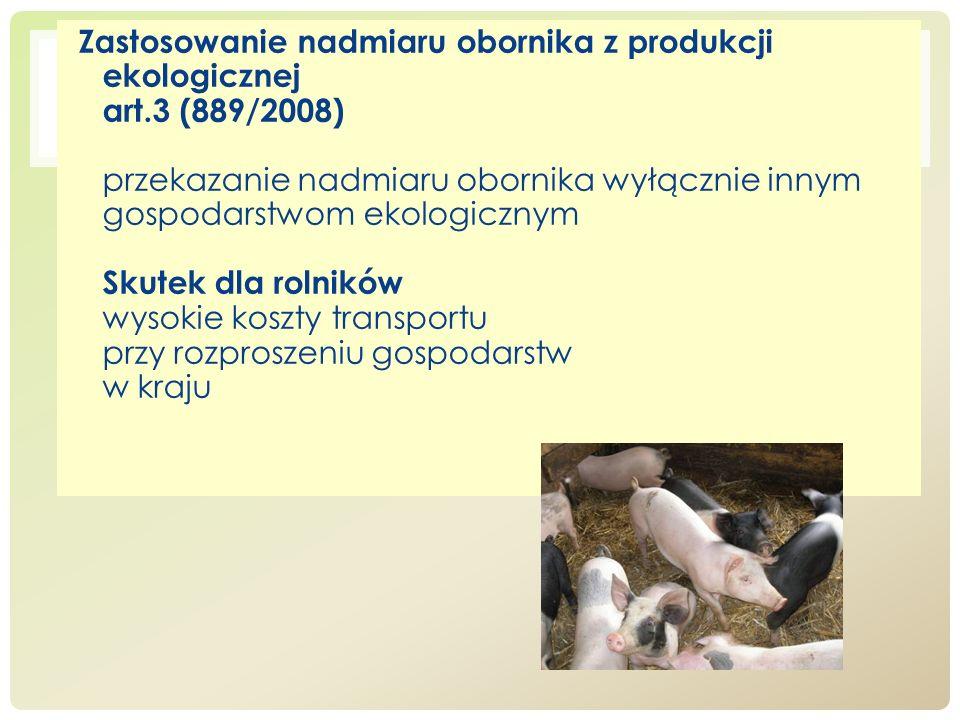 Zastosowanie nadmiaru obornika z produkcji ekologicznej art.3 (889/2008) przekazanie nadmiaru obornika wyłącznie innym gospodarstwom ekologicznym Skut
