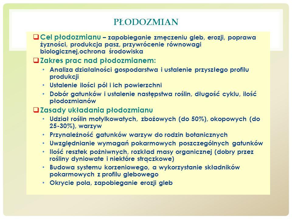 PŁODOZMIAN Cel płodozmianu – zapobieganie zmęczeniu gleb, erozji, poprawa żyzności, produkcja pasz, przywrócenie równowagi biologicznej,ochrona środow