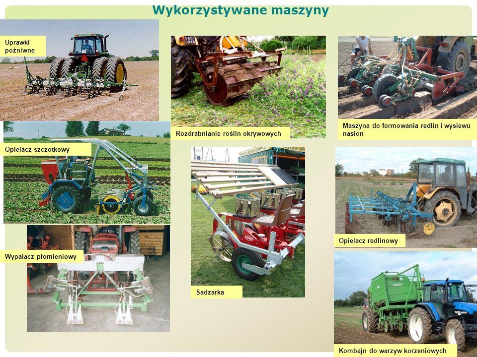 Wykorzystywane maszyny Uprawki pożniwne Rozdrabnianie roślin okrywowych Maszyna do formowania redlin i wysiewu nasion Sadzarka Opielacz szczotkowy Wyp