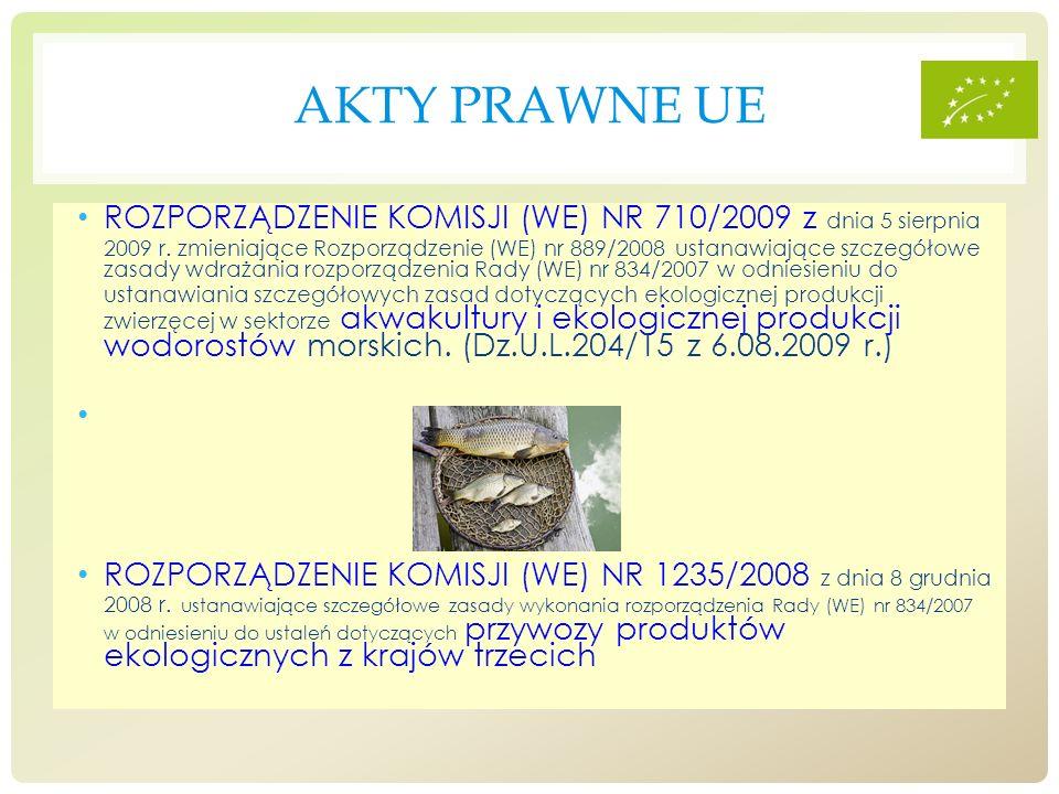 AKTY PRAWNE UE ROZPORZĄDZENIE KOMISJI (WE) NR 710/2009 z dnia 5 sierpnia 2009 r. zmieniające Rozporządzenie (WE) nr 889/2008 ustanawiające szczegółowe