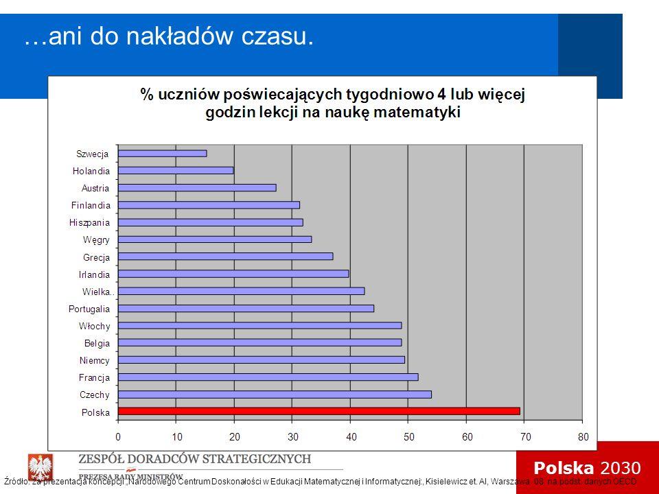 Polska 2030 …ani do nakładów czasu. Źródło: za prezentacja koncepcji Narodowego Centrum Doskonałości w Edukacji Matematycznej i Informatycznej:, Kisie
