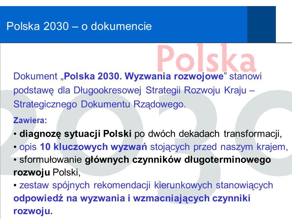 Polska 2030 Wyzwania rozwojowe Potrzeba porozumienia co do tego, że przed Polską stoją wyzwania rozwojowe, wymagające ogólno-społecznego zaangażowania i odpowiedzialności politycznej.