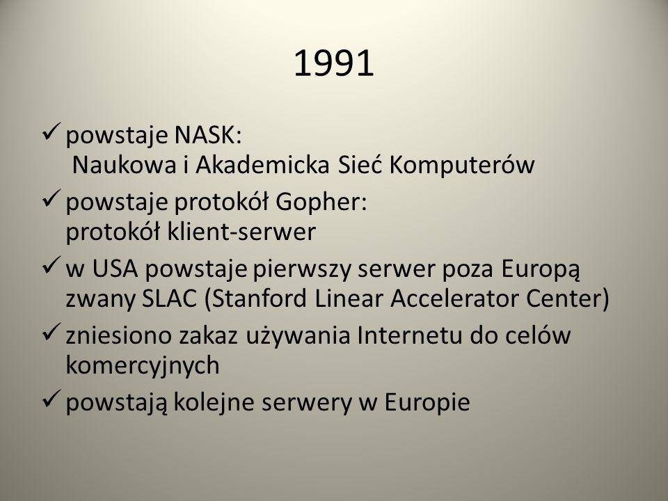 13 MARCA 1989 Tim Berners-Lee oraz Robert Cailliau złożyli projekt stworzenia sieci dokumentów hipertekstowych, o nazwie World Wide Web. GRUDZIEŃ 1990