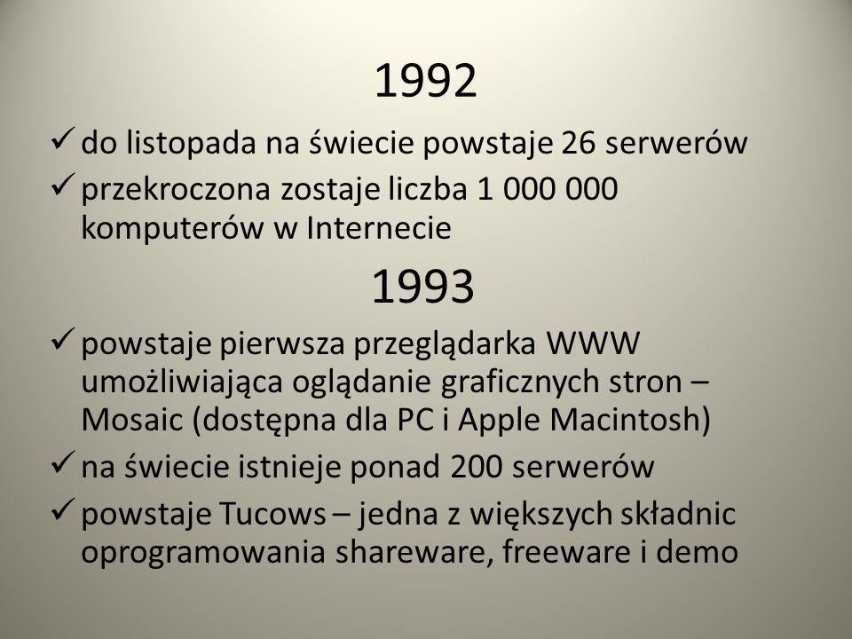 1991 powstaje NASK: Naukowa i Akademicka Sieć Komputerów powstaje protokół Gopher: protokół klient-serwer w USA powstaje pierwszy serwer poza Europą z