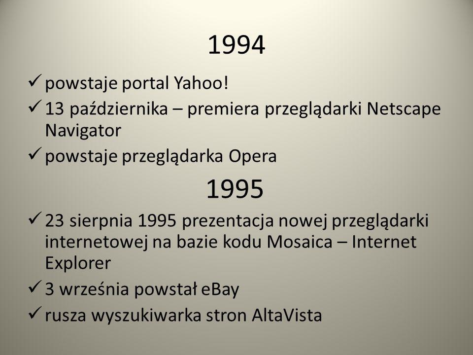 1992 do listopada na świecie powstaje 26 serwerów przekroczona zostaje liczba 1 000 000 komputerów w Internecie 1993 powstaje pierwsza przeglądarka WW