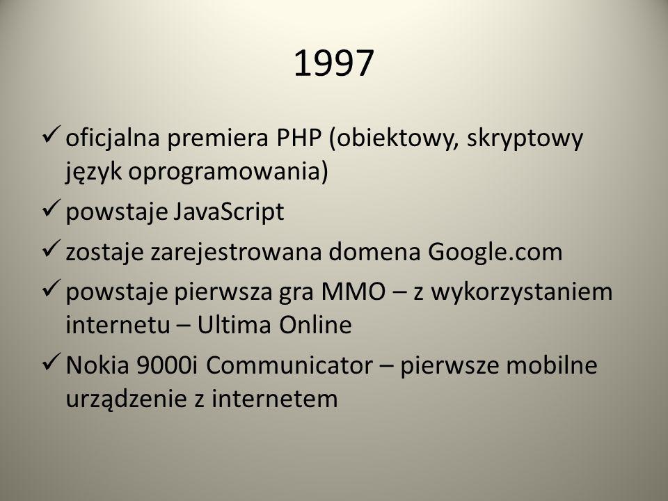 1996 premiera CSS (Kaskadowe Arkusze Stylów) powstaje pierwszy komunikator internetowy – ICQ. Początki komunikatorów internetowych sięgają lat siedemd