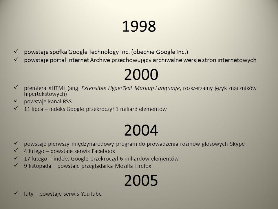 1997 oficjalna premiera PHP (obiektowy, skryptowy język oprogramowania) powstaje JavaScript zostaje zarejestrowana domena Google.com powstaje pierwsza