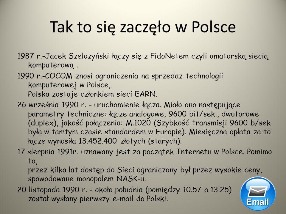 Początki Internetu na świecie sięgają połowy lat sześćdziesiątych XX w., do Polski dotarł w latach osiemdziesiątych a dokładnie w 1987 roku, za pośred