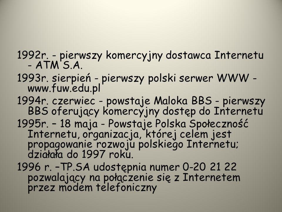 Tak to się zaczęło w Polsce 1987 r.-Jacek Szelożyński łączy się z FidoNetem czyli amatorską siecią komputerową. 1990 r.-COCOM znosi ograniczenia na sp
