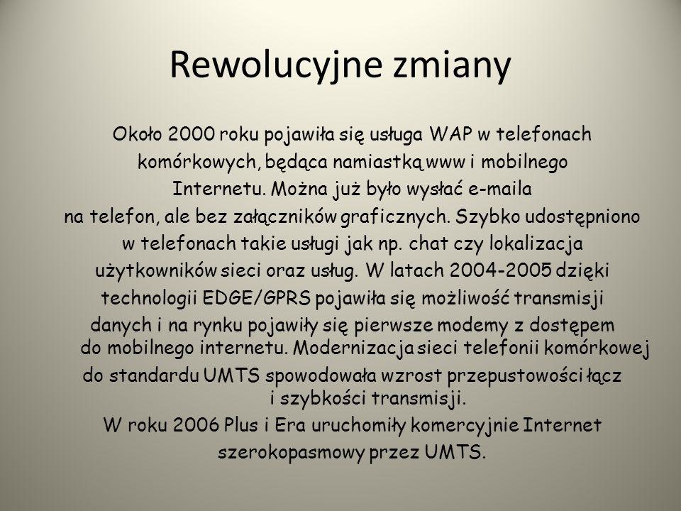 1992r. - pierwszy komercyjny dostawca Internetu - ATM S.A. 1993r. sierpień - pierwszy polski serwer WWW - www.fuw.edu.pl 1994r. czerwiec - powstaje Ma
