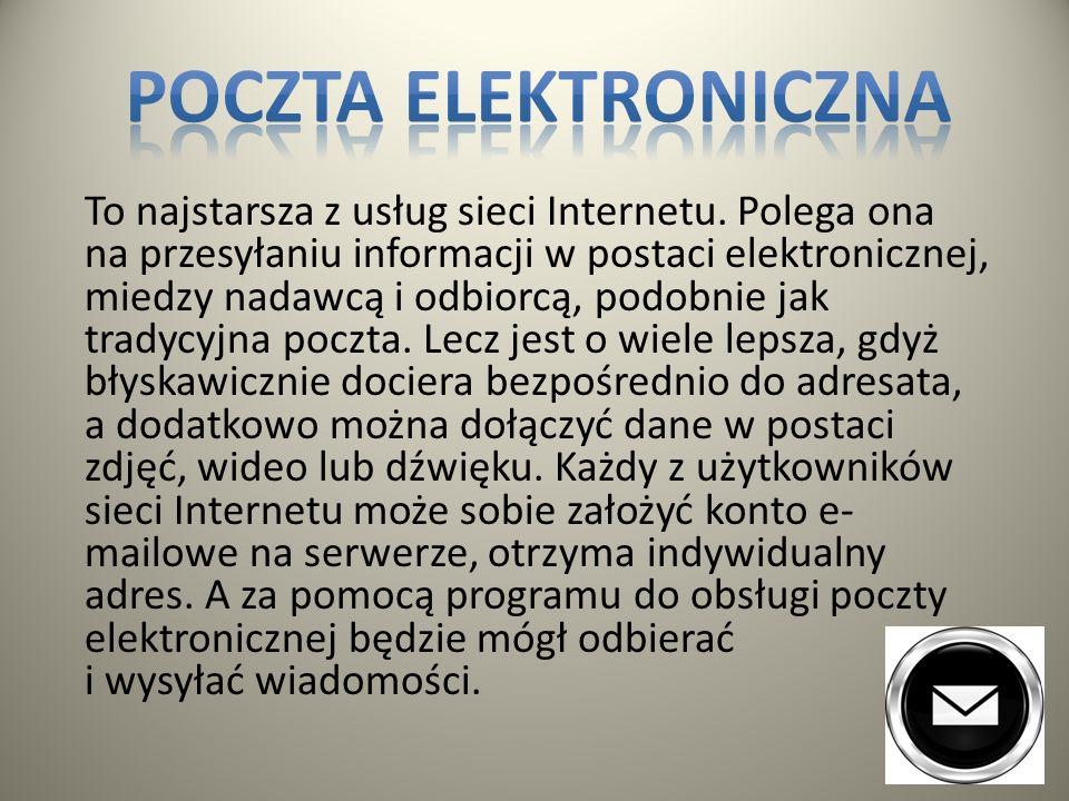 Poczta elektroniczna FTP (przesyłanie plików) Strony internetowe - WWW Usenet Dyskusje Internetowe Listy dyskusyjne IRC Telnet Komunikatory internetow