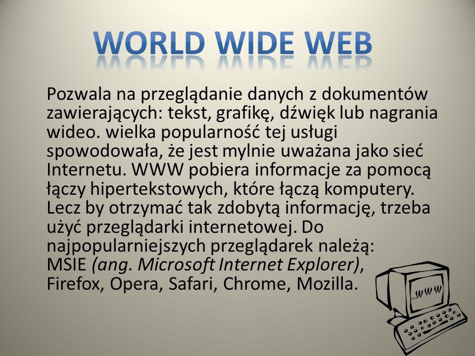 Daje nam możliwość pobierania i wysyłania danych z odległych serwerów sieci Internetu, na nasz dysk. Za pomocą tej usługi Internetu można pobrać bardz
