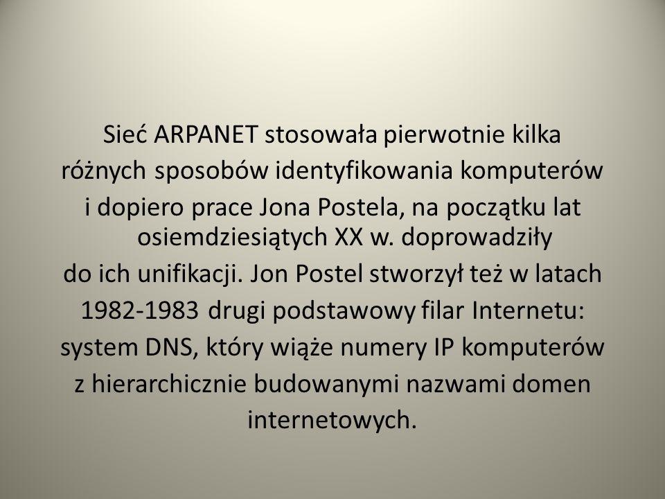 Sieć ARPANET stosowała pierwotnie kilka różnych sposobów identyfikowania komputerów i dopiero prace Jona Postela, na początku lat osiemdziesiątych XX w.