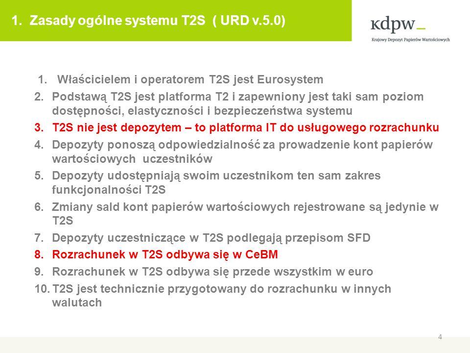 1. Zasady ogólne systemu T2S ( URD v.5.0) 1. Właścicielem i operatorem T2S jest Eurosystem 2.Podstawą T2S jest platforma T2 i zapewniony jest taki sam