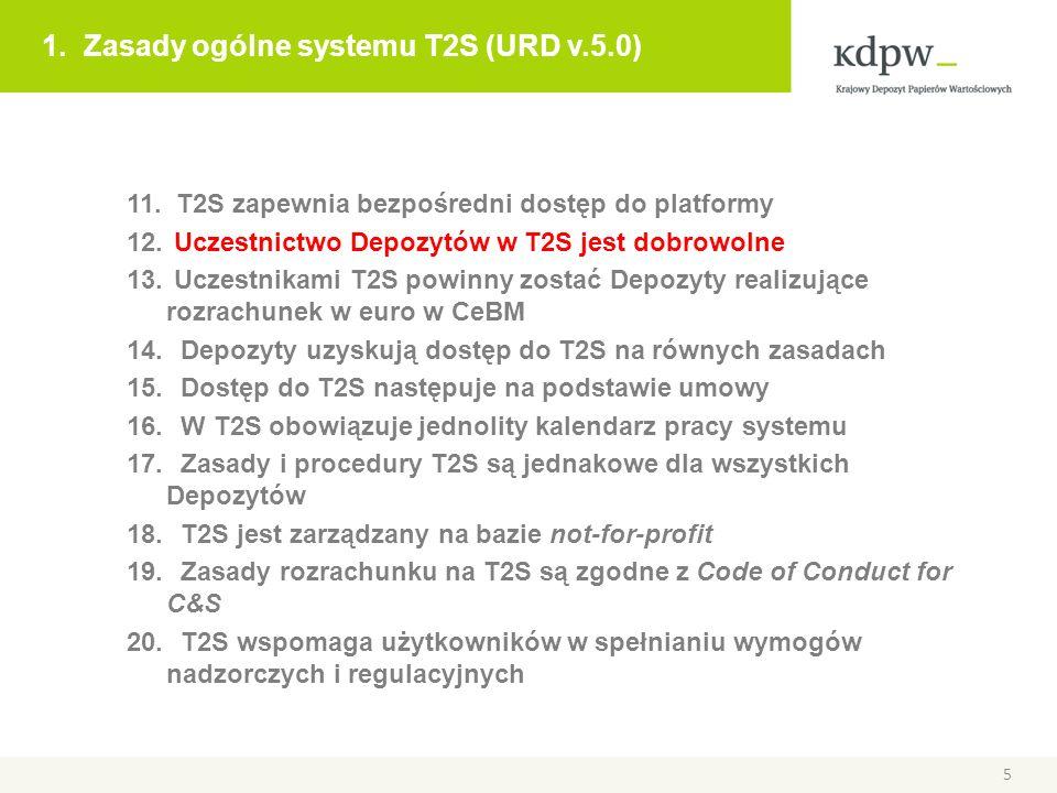 1. Zasady ogólne systemu T2S (URD v.5.0) 11. T2S zapewnia bezpośredni dostęp do platformy 12. Uczestnictwo Depozytów w T2S jest dobrowolne 13. Uczestn