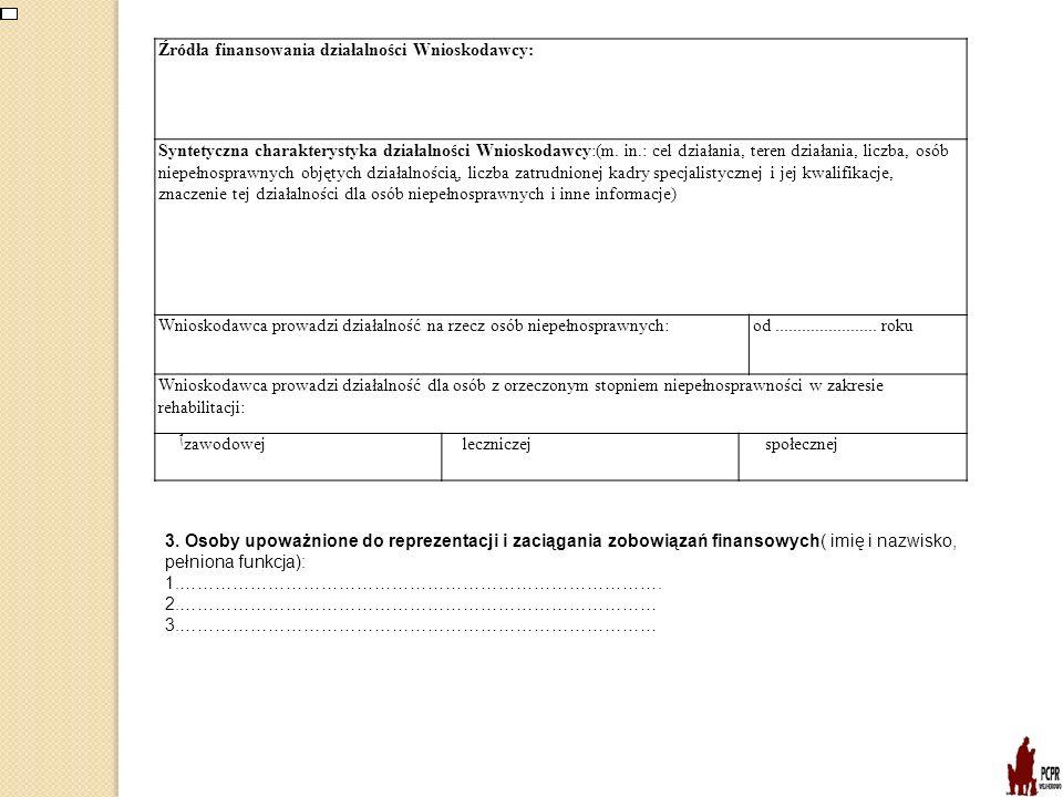 Źródła finansowania działalności Wnioskodawcy: Syntetyczna charakterystyka działalności Wnioskodawcy:(m. in.: cel działania, teren działania, liczba,