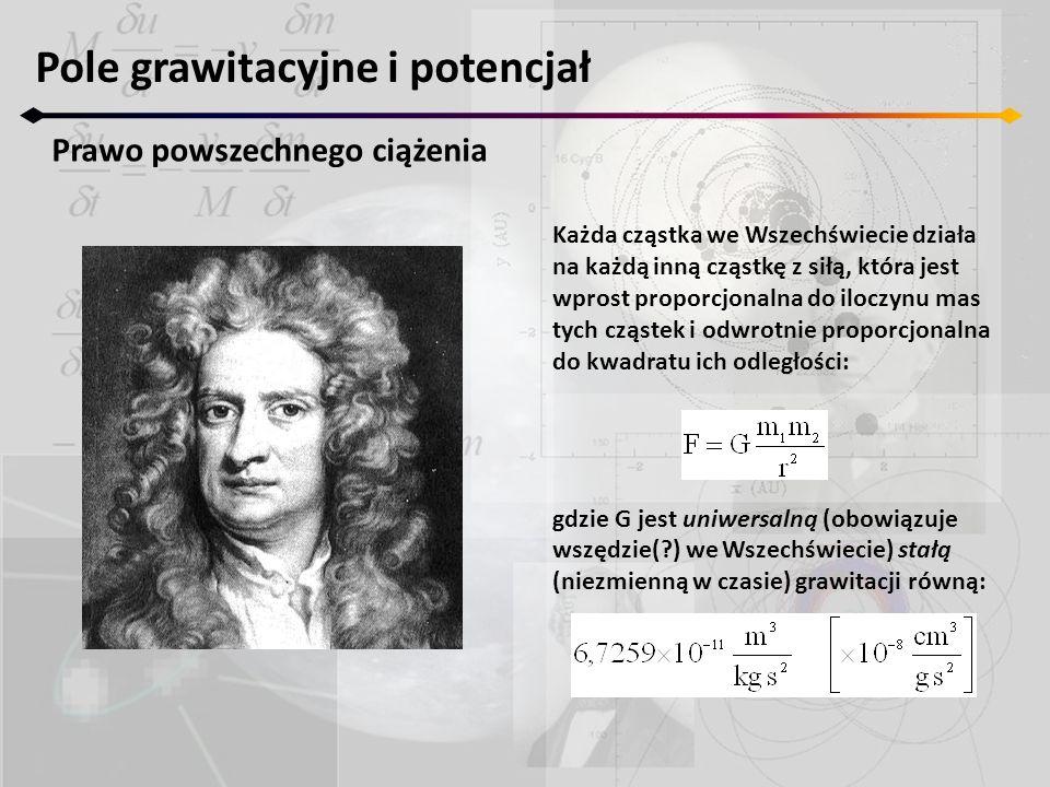 Pole grawitacyjne i potencjał Prawo powszechnego ciążenia Każda cząstka we Wszechświecie działa na każdą inną cząstkę z siłą, która jest wprost propor