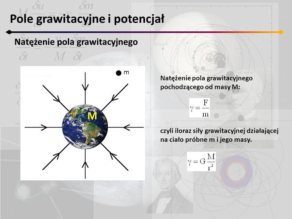 Natężenie pola grawitacyjnego pochodzącego od masy M: czyli iloraz siły grawitacyjnej działającej na ciało próbne m i jego masy. Pole grawitacyjne i p