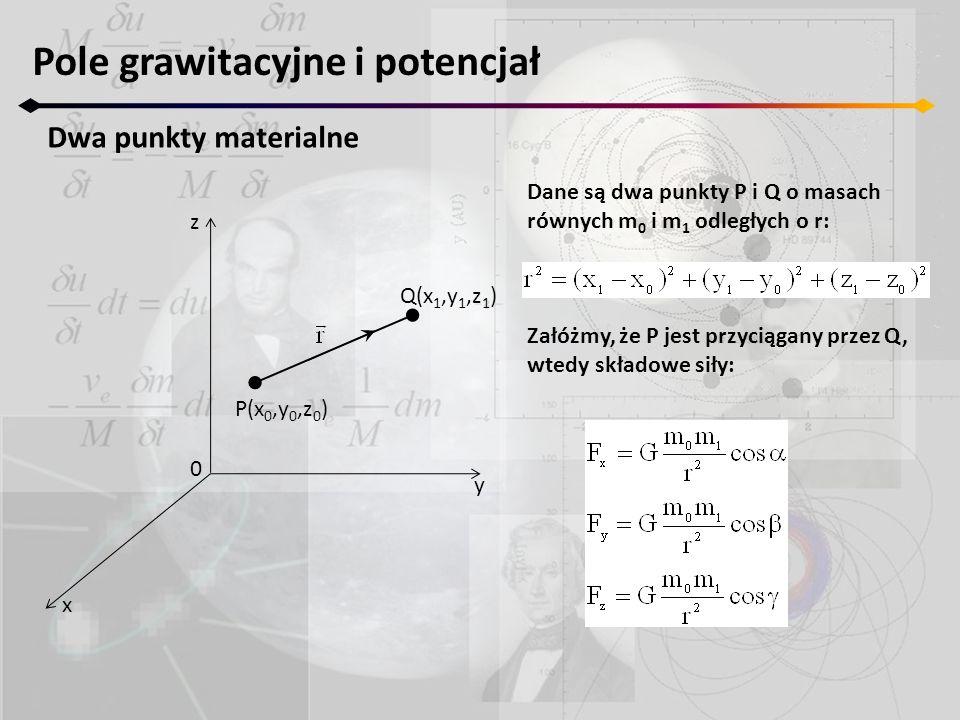 Pole grawitacyjne i potencjał Dwa punkty materialne z y x 0 P(x 0,y 0,z 0 ) Q(x 1,y 1,z 1 ) Dane są dwa punkty P i Q o masach równych m 0 i m 1 odległ