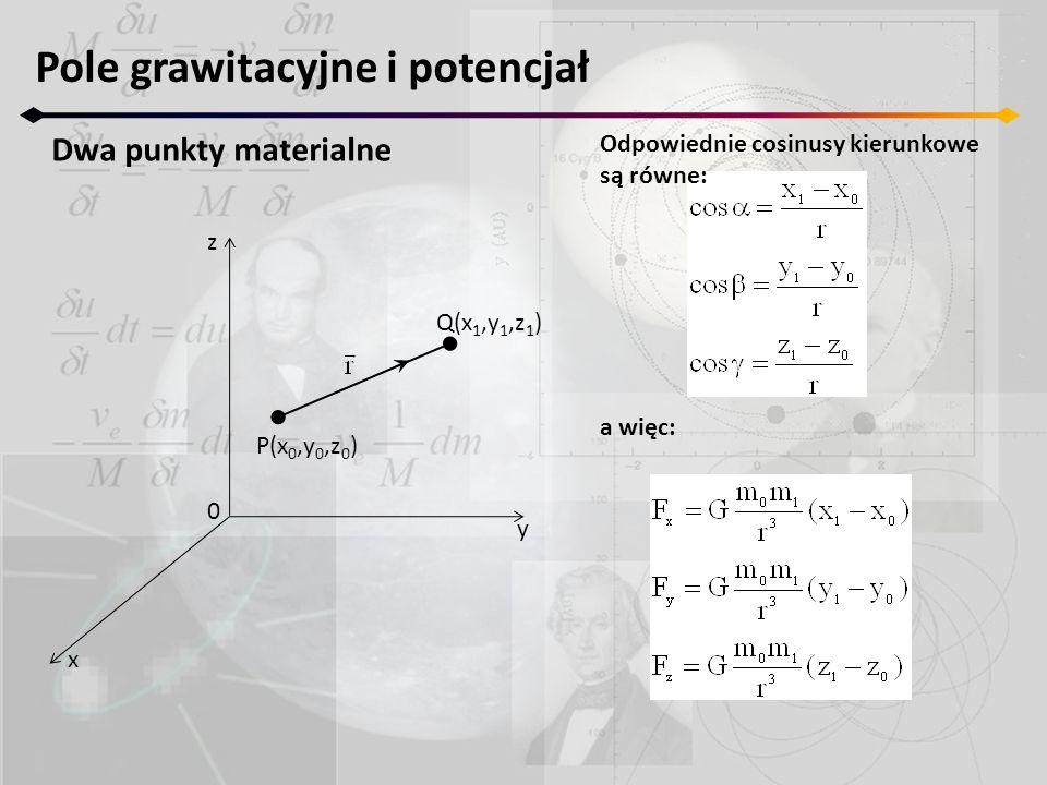 Pole grawitacyjne i potencjał Dwa punkty materialne z y x 0 P(x 0,y 0,z 0 ) Q(x 1,y 1,z 1 ) Odpowiednie cosinusy kierunkowe są równe: a więc: