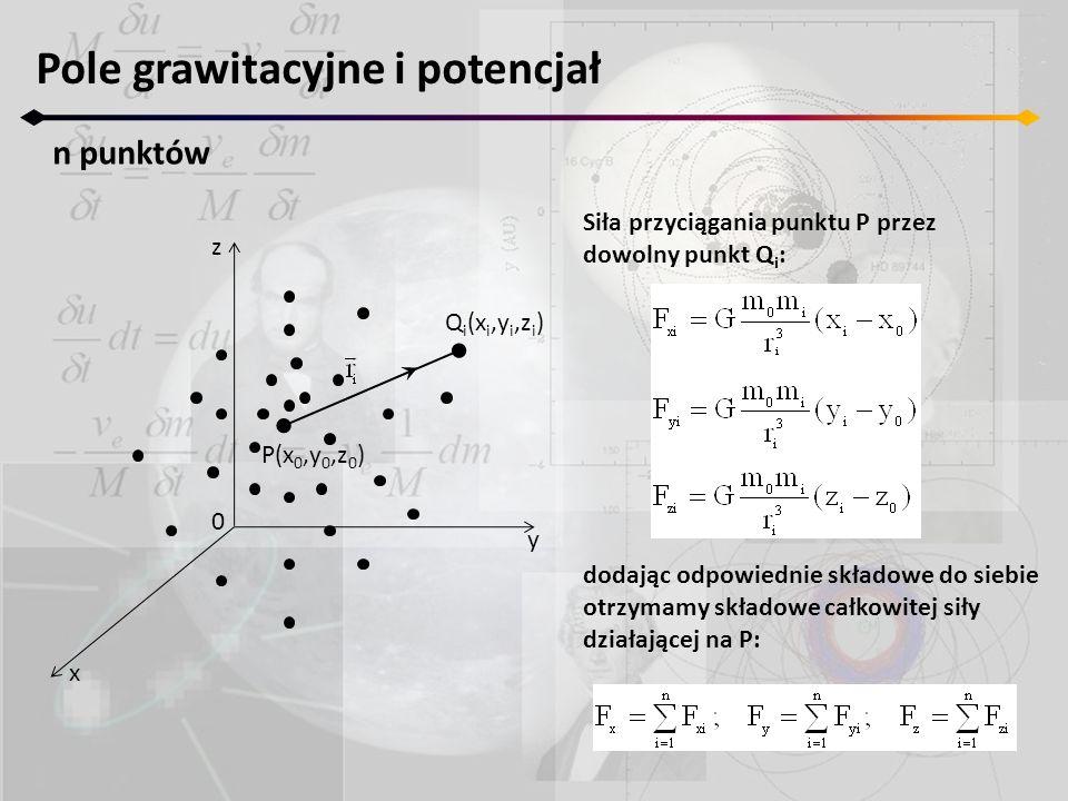 Siła przyciągania punktu P przez dowolny punkt Q i : dodając odpowiednie składowe do siebie otrzymamy składowe całkowitej siły działającej na P: Pole