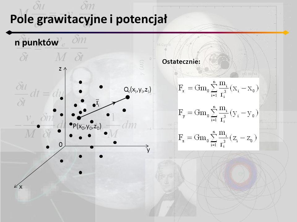 Ostatecznie: Pole grawitacyjne i potencjał n punktów z y x 0 P(x 0,y 0,z 0 ) Q i (x i,y i,z i )