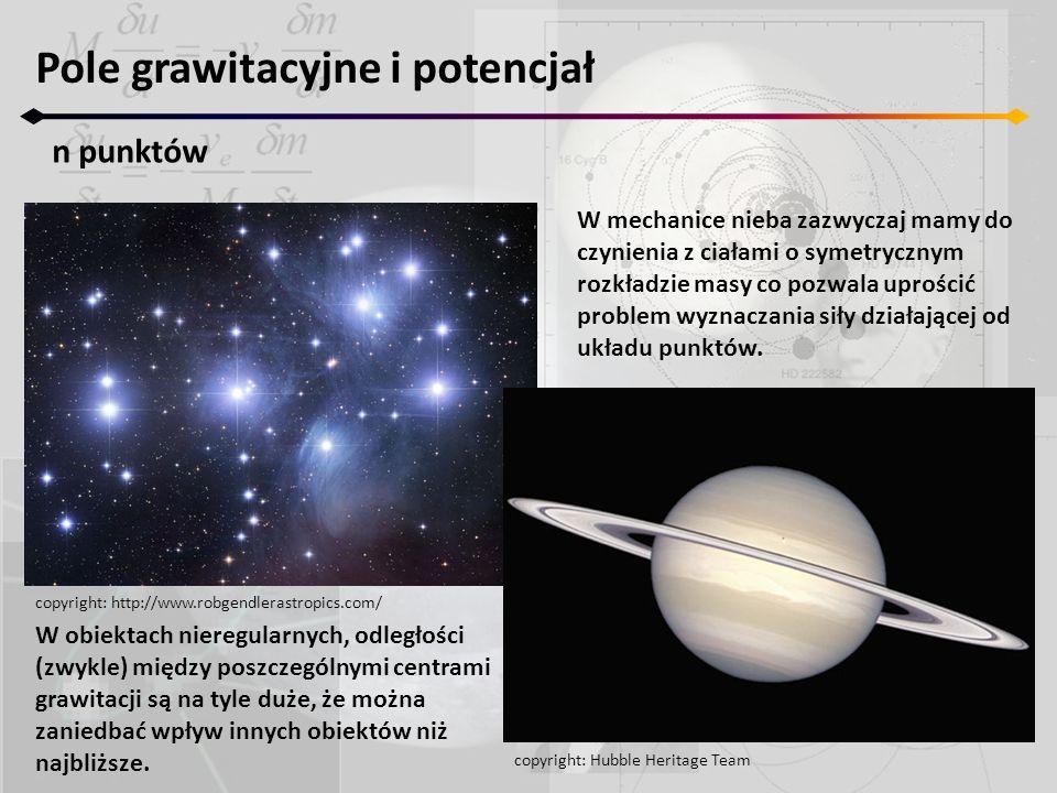 W mechanice nieba zazwyczaj mamy do czynienia z ciałami o symetrycznym rozkładzie masy co pozwala uprościć problem wyznaczania siły działającej od ukł