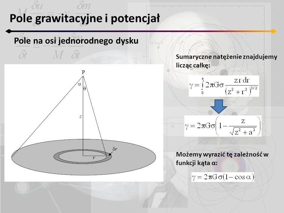 Sumaryczne natężenie znajdujemy licząc całkę: Pole grawitacyjne i potencjał Pole na osi jednorodnego dysku Możemy wyrazić tę zależność w funkcji kąta