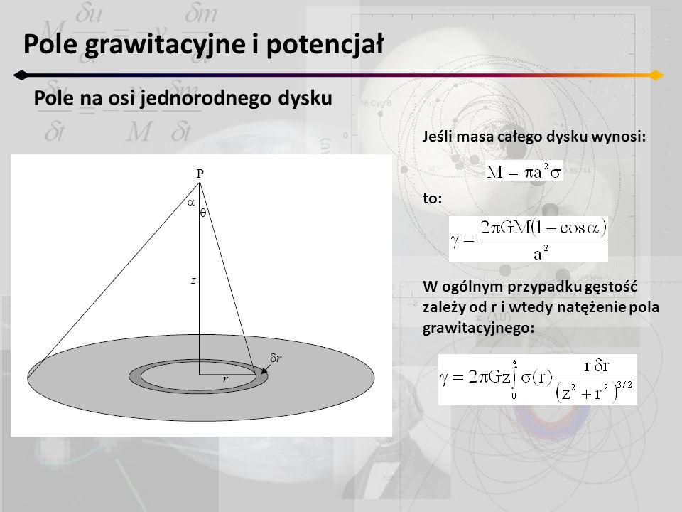 Jeśli masa całego dysku wynosi: to: Pole grawitacyjne i potencjał Pole na osi jednorodnego dysku W ogólnym przypadku gęstość zależy od r i wtedy natęż