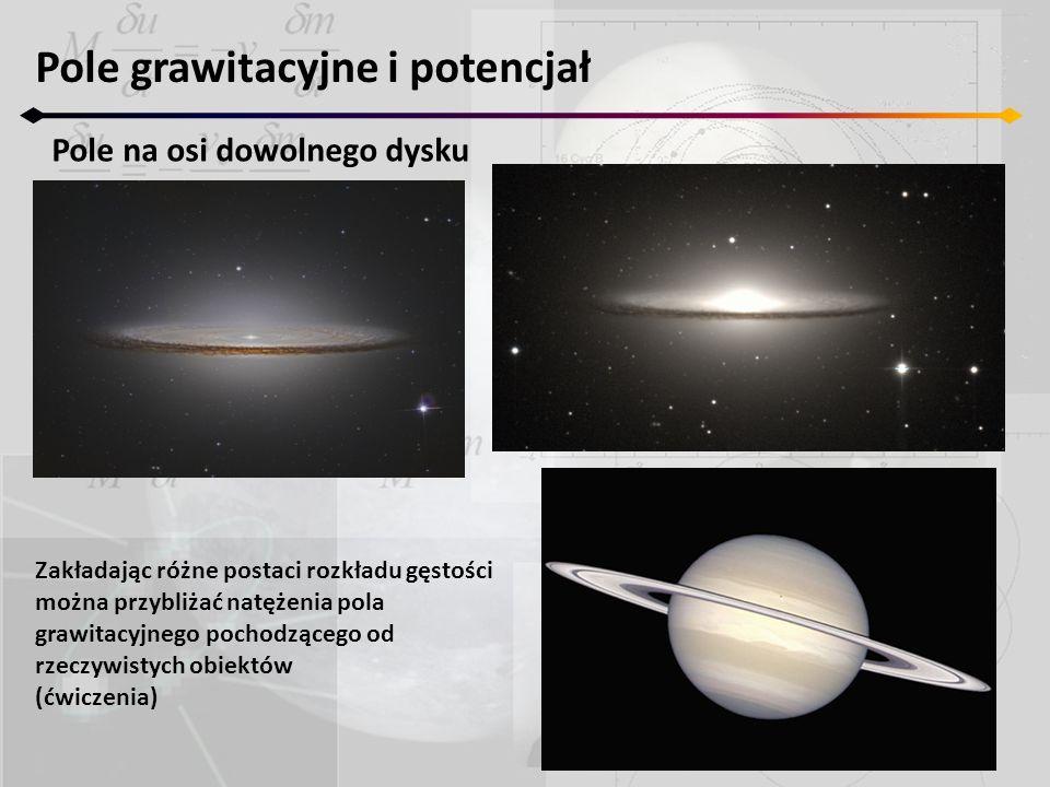 Pole grawitacyjne i potencjał Pole na osi dowolnego dysku Zakładając różne postaci rozkładu gęstości można przybliżać natężenia pola grawitacyjnego po