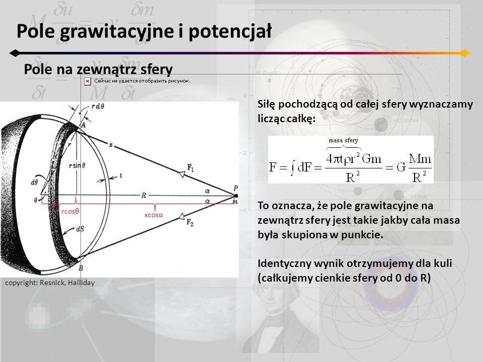 Pole grawitacyjne i potencjał Pole na zewnątrz sfery copyright: Resnick, Halliday rcosθ xcosα Siłę pochodzącą od całej sfery wyznaczamy licząc całkę: