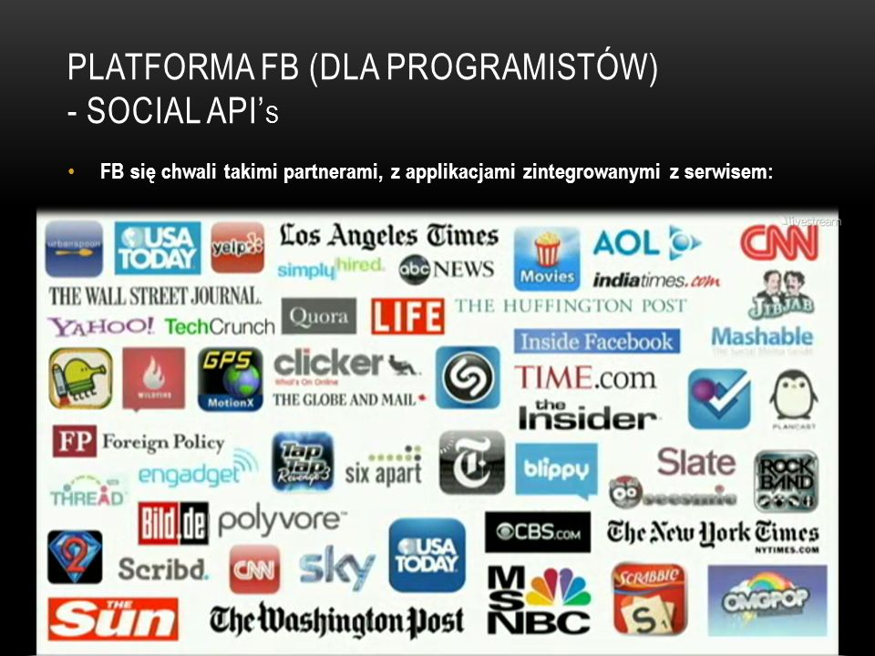 PLATFORMA FB (DLA PROGRAMISTÓW) - SOCIAL API S FB się chwali takimi partnerami, z applikacjami zintegrowanymi z serwisem: