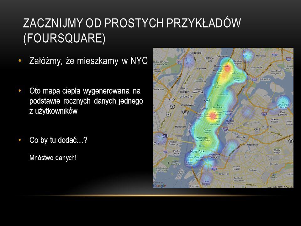 ZACZNIJMY OD PROSTYCH PRZYKŁADÓW (FOURSQUARE) Załóżmy, że mieszkamy w NYC Oto mapa ciepła wygenerowana na podstawie rocznych danych jednego z użytkowników Co by tu dodać….