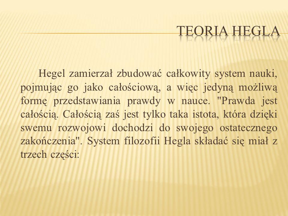 Hegel zamierzał zbudować całkowity system nauki, pojmując go jako całościową, a więc jedyną możliwą formę przedstawiania prawdy w nauce.
