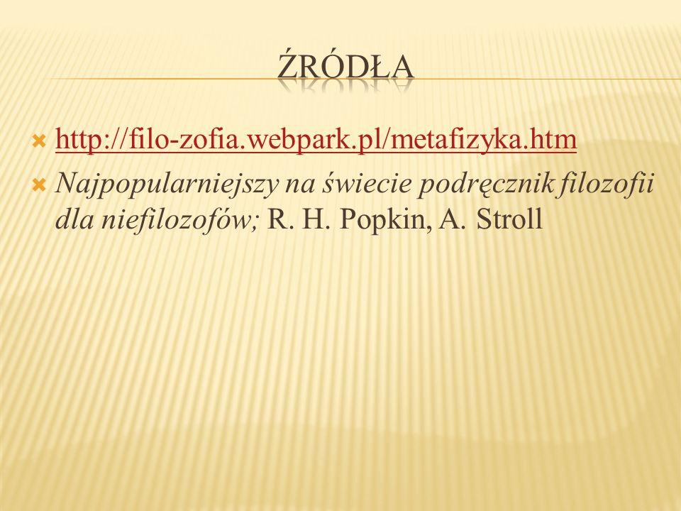 http://filo-zofia.webpark.pl/metafizyka.htm Najpopularniejszy na świecie podręcznik filozofii dla niefilozofów; R. H. Popkin, A. Stroll